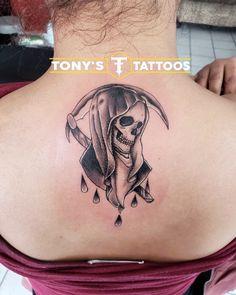 Tony's Tattoos Tijuana Leo Tattoos, Girly Tattoos, Sister Tattoos, Rose Tattoos, Tatoos, Tatuaje Grim Reaper, Grim Reaper Tattoo, Sketch Tattoo Design, Tattoo Sketches