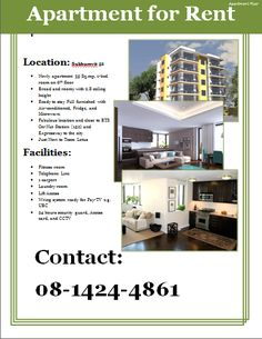 Apartment rental flyer. Great for student housing