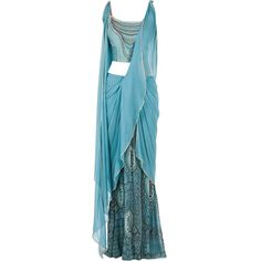 Pernia's Pop-Up Shop ❤ liked on Polyvore featuring dresses, gowns, sari, long dress, blue, blue dress, draped gown, blue evening gown, draped dress and blue evening dress