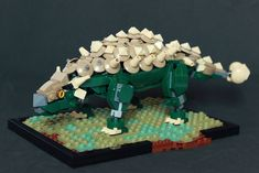 Ankylosaurus by LeewanLego My Lego rendition of one of the most famous dinosaurs. I had the idea for the back armour made with dished attached wit. - Soon Cobb Lego Dinosaurus, Legos, Lego Jurassic Park, Lego Dragon, Lego Custom Minifigures, Lego Pictures, Amazing Lego Creations, Lego Activities, Lego Craft