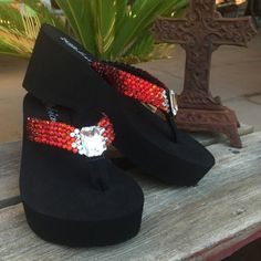 cf9cc8c0a33f44 Dorothy s Ruby Red Ombre  Rockstar Swarovski Crystal Platform Flip Flops