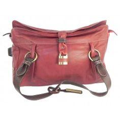 Large sienna rose soft dark red tan leather handbag good quality