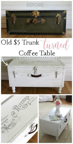 SO Easy!! $5 Old Trunk Coffee Table , a THRIFY Makeover! - artsychicksrule.com