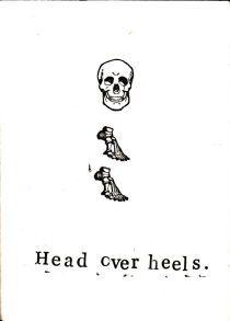 Funny Skeleton Anatomy Medical Humor Greeting Card - Head Over Heels