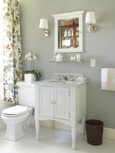 bathrooms - Farrow & Ball - Lamp Room Gray - shower curtain gray walls white single bathroom cabinet marble countertop white framed inset medicine cabinet