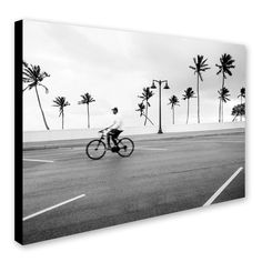 'Florida Beach Biker' by Preston Photographic Print on Wrapped Canvas