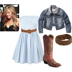I can never have enough white dresses and boots! country girl<3, created by taylor-313 on Polyvore