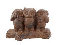 Amazon.com - Owl Statue - See No, Hear No, Speak No Evil Cast Iron Three Wise Owls -