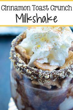 Cinnamon Toast Crunch Milkshake - The Relaxed Homeschool Homemade Desserts, Easy Cake Recipes, Sweet Recipes, Dessert Recipes, Drink Recipes, Yummy Drinks, Delicious Desserts, Yummy Food, Shake Recipes