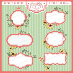 Botanic Frames & Labels for cards, stationary, invitations, party favors, and all paper crafts