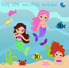 Mermaids Digital Clipart / Little Mermaids Digital Clip art / Mermaids Clipart For Personal and Commercial Use / Instant download