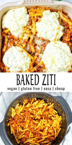 This Baked Ziti is easy to make with simple ingredients and taste amazing. Easy with step by step pictures and you will never taste it is vegan. A family favorite that is always a keeper. #vegan #dairyfree #dinner #contentednesscooking #lunch #mealprep #freezermeals #bakedziti Veggie Recipes, Lunch Recipes, Pasta Recipes, Free Recipes, Healthy Comfort Food, Best Comfort Food, Comfort Foods, Vegan Ground Beef, Easy Mediterranean Recipes