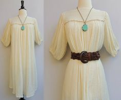 Vintage 70s India Cotton Gauze Festival Dress with Crochet Detail and Poet Sleeves. Bohemian Wedding Dress
