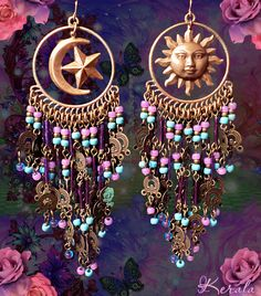 Celestial Turquoise and Purple Beaded Earrings Sun Moons by kerala, $36.00