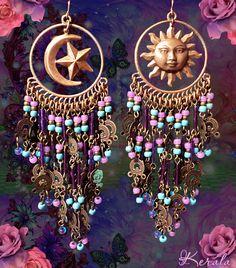 Celestial Turquoise and Purple Beaded Earrings, Sun, Moons and Stars, Extra Long Bohemian Chandelier Earrings, Hippie Earrings, Gypsy Moon