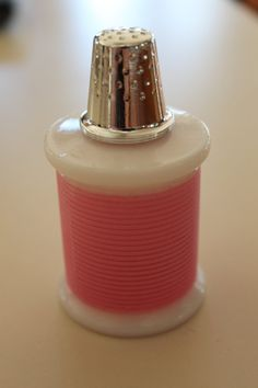 Vintage Avon Thimble and Pink Spool of Thread by celesteschall
