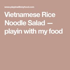 Vietnamese Rice Noodle Salad — playin with my food