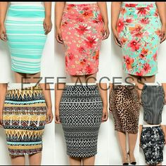 """Skirts plus size pencil fitted high waist Sexy 》》Runs small kindly check measurements. Note* Due to limitations in photography n diffrencd in device settings, the color shown in the photography may not correspond 100% to the items. Material:polyester + spandex, medium weight  stretchy fabric. Style:Straight, Pencil, fitted skirts Elastic waist. Perfect for office, formal or casual wear.  *Measurements laying flat across  1XL = (Waist = 14-18""""),  (Hips= 19""""-21""""), (Length =27"""") Boutique…"""