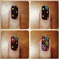 Love the colors in this Flower Nail Art Design!   Nice instructions too! http://www.isavea2z.com/nail-art-designs-i-love/