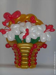 Персональные подарки ручной работы. Ярмарка Мастеров - ручная работа Корзина цветов из воздушных шаров.. Handmade.