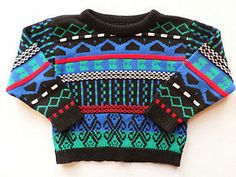 Vintage 1980s Boys Size 3T Cute Ugly Sweater, Crazy print, Hipster Toddler. $12.99