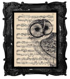 Upcycled Dictionary Page Upcycled Book Art Upcycled Art Print Upcycled Book Print Vintage Art Print Owl Peeper Music Sheet via Etsy Octopus Print, Owl Print, Vintage Owl, Upcycled Vintage, Vintage Art Prints, Owl Bird, Butterfly Art, Butterflies, Lovers Art