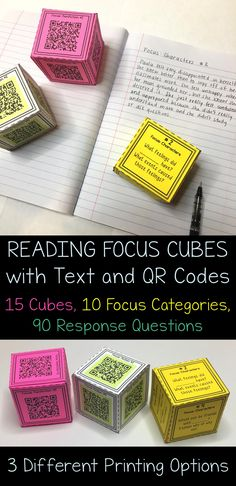 Reading Focus Cubes are great when wanting to add an engaging spin to reading responses! These can be used for oral discussion in reading or can be used for written responses in journals. There are 90 reading response questions, 10 reading skills and 15 response cubes! Use technology with the QR code option!