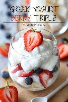 Greek Yogurt Berry Trifle by Damn Delicious Healthy Treats, Healthy Desserts, Just Desserts, Delicious Desserts, Yummy Food, Yummy Yummy, Healthy Eating, Tasty, Fruit Recipes