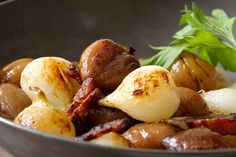 Sautéed Chestnuts, Onions, and Bacon I make this on Christmas. Very yummy