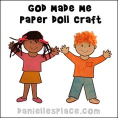 Bible Craft for kids - God Made Me Paper Doll Bible Craft from www.daniellesplace.com