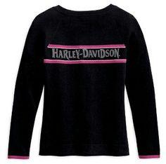 ladies harley davidson logos | Harley-Davidson® Womens Font Logo Pink Stripe Zip Up Black Sweater ...