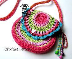 Crochet / Ravelry: Girl's purse - San Francisco collection pattern by Vendula Maderska Knit Or Crochet, Crochet For Kids, Crochet Crafts, Yarn Crafts, Crochet Baby, Crochet Projects, Crochet Girls, Crochet Purse Patterns, Crochet Purses