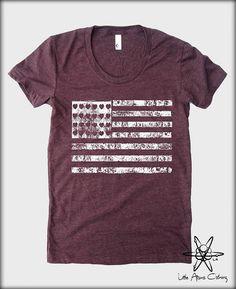 USA Flag American Apparel tee tshirt shirt by LittleAtoms on Etsy