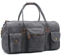 Aidonger Unisex Canvas and Leather Travel Bag with big Capacity (Dark gray) ** undefined #GymBags
