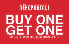 Check out Aeropostale BUY ONE GET ONE Promo!  Buy 1 and get 1 FREE on ALL regular and select SALE items this Tuna Festival, plus more!   Offer EXCLUSIVE to Aeropostale Veranza Mall General Santos City from September 1 - 5, 2016 only!  For more promo deals, VISIT http://mypromo.com.ph! SUBSCRIPTION IS FREE! Please SHARE MyPromo Online Page to your friends to enjoy promo deals!