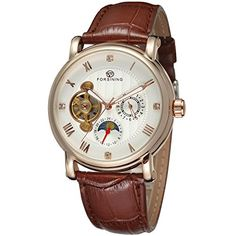 Forsining Mens Automatic Selfwinding Real Leather Strap Stylish Designer Phase Mooon Watch FSG800M3R2 ** More info could be found at the image url.Note:It is affiliate link to Amazon.