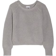 OAK Cropped wool sweater (€90) ❤ liked on Polyvore featuring tops, sweaters, jumper, shirts, grey, wool shirt, grey sweater, loose shirts, gray crop top and grey wool sweater