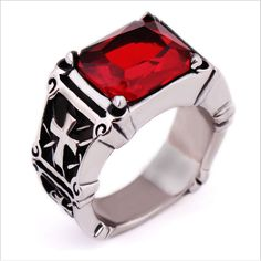 My Times Jew : Top Quanlity New Style Red zircon Ring Mens Women Stainless Steel CLAW Rings >>> To view further for this item, visit the image link. This is an affiliate link. Punk Rock Fashion, Metal Fashion, Fashion Jewelry, Fashion Fashion, Harley Davidson, Moda Rock, Synthetic Ruby, Metal Belt, Stainless Steel Rings