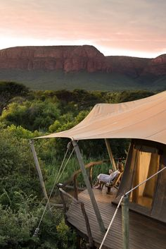 Marataba Safari Lodge - South AfricaNestled within South Africa's malaria-free Marakele National Park, Marataba Safari Lodge boasts 15 canvas and stone tented suites complete with free-standing stone. Glamping, Tent Camping, Luxury Tents, Camping Places, Out Of Africa, Africa Fashion, African Safari, French Quarter, Africa Travel