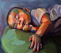 Colourful sleeping baby painting.