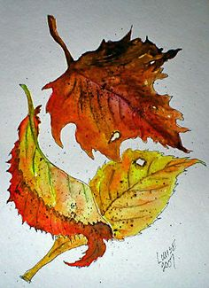 pen and ink and watercolor art | art 3 fall leaves Watercolor/Pen and Ink | Flickr - Photo Sharing!