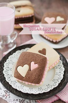 Neapolitan Sugar Cookie Sandwiches for Valentine's Day! See this and 15 more heart-inspired Valentine's Day desserts on www.prettymyparty.com.