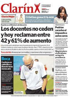 Los docentes no ceden y hoy reclaman entre 42 y 61% de aumento. Más información: http://www.clarin.com/politica/docentes-Gobierno-endurecieron-posiciones_0_1088891140.html