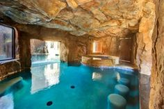 The Grotto - behind the waterfall, with spa, swim-up bar, and access to the Grotto Lounge.I will have a swim up bar one day! Luxury Swimming Pools, Luxury Pools, Indoor Swimming Pools, Dream Pools, Swimming Pool Designs, Lap Swimming, Amazing Swimming Pools, Backyard Pools, Pool Decks