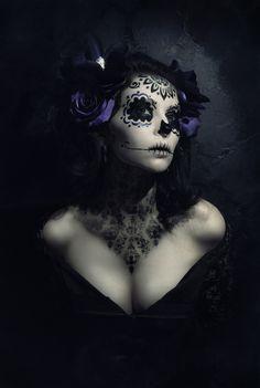Sugar Skull,  Make-up,  Día De Los Muertos (Day of the Dead) by Cassandra Melena