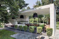 How awesome is a garden pavilion! A place to sit and enjoy the outdoors! It can even be concrete! by adesignersmind Outdoor Areas, Outdoor Rooms, Outdoor Living, Outdoor Decor, Modern Outdoor Kitchen, Outdoor Kitchens, Outdoor Lounge, Home Garden Design, Home And Garden