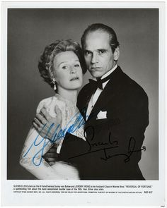 "Close, Glenn - Irons, Jeremy - Double Signed Photo in ""Reversal of Fortune"""