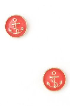 Anchor Emblem Stud Earrings in Coral