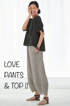 Natural SP Roma Top by Lisa Bayne . A top that looks great on nearly everyone and layers beautifully with almost everything. With a high-low hem and extended shoulders, it offers cool coverage in breezy linen. Mode Outfits, Casual Outfits, Fashion Outfits, Womens Fashion, Fashion Ideas, Fashion Over, Look Fashion, Mode Boho, Inspiration Mode