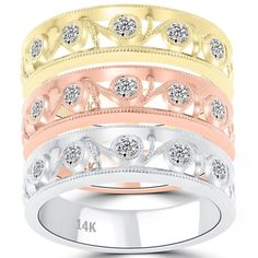 0.90 Ct. Tri Color Stackable Ring Set Micro Pave Wedding Band 14k Gold - SRS-009 #LioriDiamonds #StackableRingSet